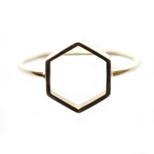 Simple Gold hexagon ring...im in love with hexagons!